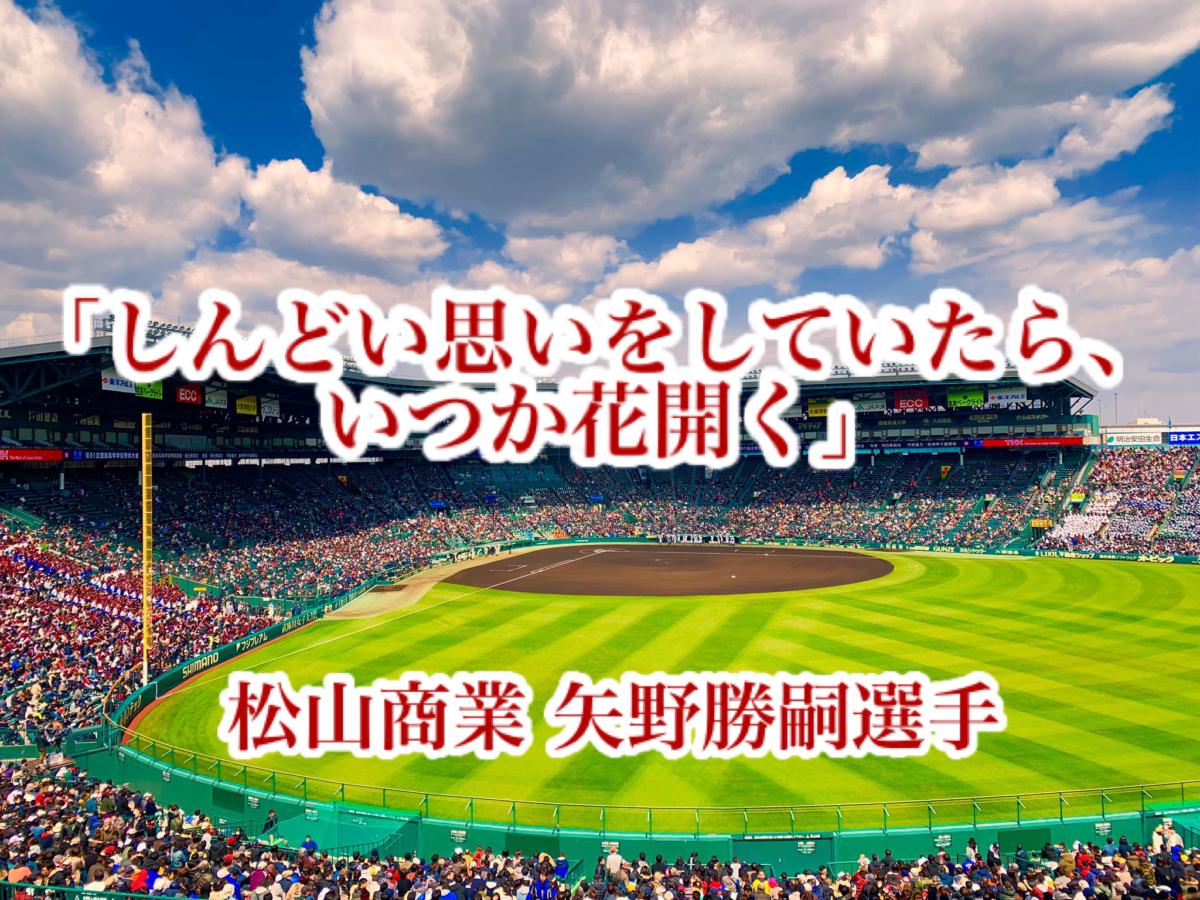 「しんどい思いをしていたら、いつか花開く」/ 松山商業 矢野勝嗣選手