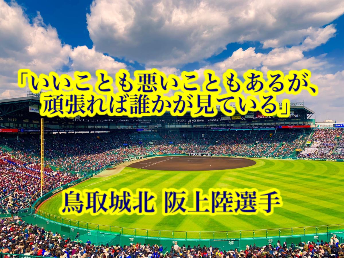 「いいことも悪いこともあるが、頑張れば誰かが見ている」/ 鳥取城北 阪上陸選手